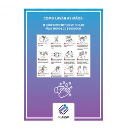 Aviso Covid-19 / Como lavar as mãos Papel Alto Alvura 120gr   Plastificação