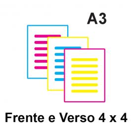Impressão Colorida A3 Couche 150gr ou Alto Alvura 150gr A3 21 x 29,7 Impressão Colorida frente e verso